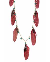 TOPSHOP | Red Long Feather Chain Necklace | Lyst