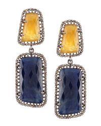 Bavna | Blue Sapphire & Yellow Aquamarine Earrings | Lyst