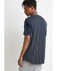 Forever 21 - Blue Striped Baseball Shirt for Men - Lyst