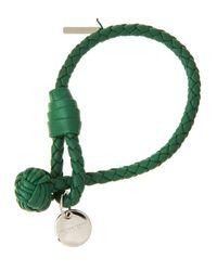 Bottega Veneta - Green Intrecciato Single Knot Leather Bracelet - Lyst