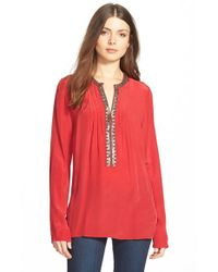Plenty by Tracy Reese - Red 'kurta' Embellished Peasant Top - Lyst