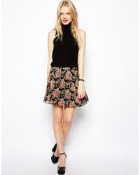 ASOS | Multicolor Pleated Skater Skirt In Woven Floral Print | Lyst