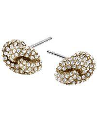 Michael Kors | Metallic Pave Crystal Circle Stud Earrings | Lyst