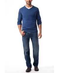 Tommy Hilfiger - Blue Pima Cashmere V-neck Sweater for Men - Lyst