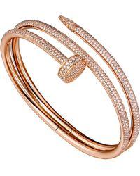 Cartier   Juste Un Clou 18ct Pink-gold And Diamond Double Bracelet   Lyst
