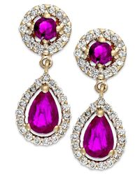 Macy's - Red Ruby (1-1/3 Ct. T.W.) And Diamond (3/8 Ct. T.W.) Drop Earrings In 14K Gold - Lyst