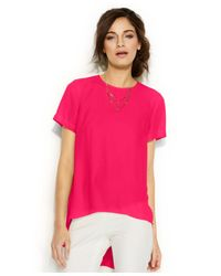 Vince Camuto | Pink Short-sleeve High-low Blouse | Lyst