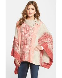 Caslon - Red Cowl Neck Jacquard Poncho - Lyst