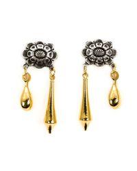Rodarte - Metallic Flower Pendant Earrings - Lyst