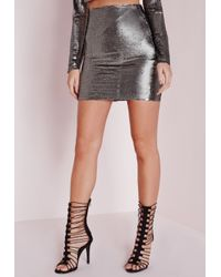 1116334b82 Lyst - Missguided Sequin Mini Skirt Grey in Gray