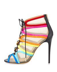 Ferragamo - Multicolor Mesh-Insert Lace-Up Sandals - Lyst