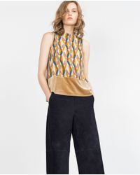 Zara | Multicolor Top With Printed Hem | Lyst