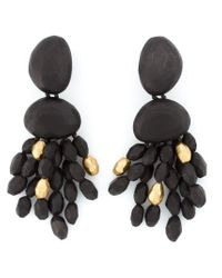 Monies | Brown Beaded Tassel Clip-on Earrings | Lyst