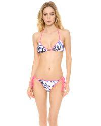 MILLY - Blue Biarritz String Bikini Top Fluo Melon - Lyst