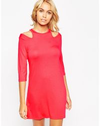 ASOS - Red Shift Dress With Cold Shoulder - Lyst