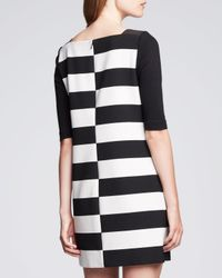 MILLY - Black Shiftedstripe Jersey Dress 8 for Men - Lyst