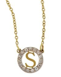 Kacey K - Metallic Extra Small Round Initial Pendant Necklace With Diamonds - Lyst