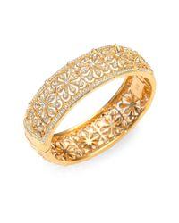 Adriana Orsini | Metallic White Stone Floral Hinge Bangle Bracelet | Lyst