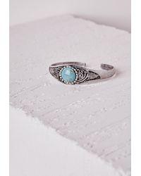 Missguided - Blue Semi Precious Stone Bangle - Lyst