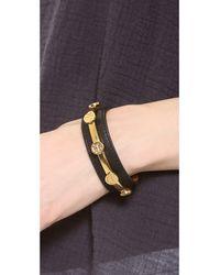 Tory Burch - Metallic Leather Logo Cuff Bracelet - Lyst