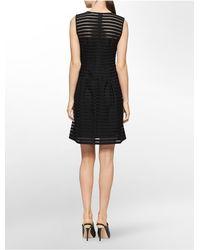 Calvin Klein | Black Textured Stripe Flared Hem Sleeveless Dress | Lyst