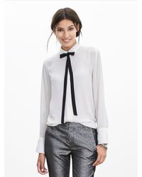 Banana Republic - Gray Contrast Tie-front Blouse - Lyst