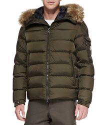 Moncler - Brown Byron Fur-Trim Hood Puffer Jacket for Men - Lyst
