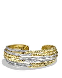 David Yurman | Metallic Labyrinth Triple-loop Cuff Bracelet With Diamonds And Gold | Lyst