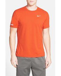 Nike - Orange 'contour' Mesh Dri-fit Running T-shirt for Men - Lyst