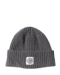 Stone Island - Gray Ribbed Wool & Cashmere Blend Beanie Hat for Men - Lyst