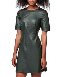 TOPSHOP | Green Faux-Leather Shift Dress | Lyst
