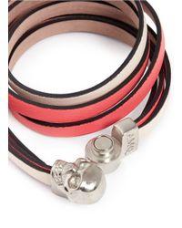 Alexander McQueen | Pink Triple Strap Skull Leather Bracelet | Lyst