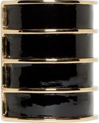 Balmain | Black Leather Gold Stacked Cuff | Lyst