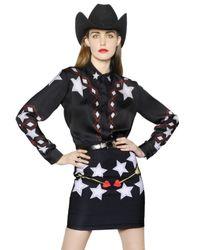 Maria Escoté - Black Cowgirl Printed Techno Satin Shirt - Lyst