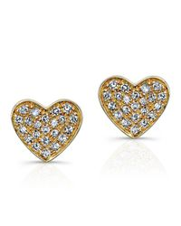 Anne Sisteron - Metallic 14kt Yellow Gold Diamond Heart Stud Earrings - Lyst