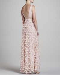 Sue Wong - Pink Embellished Gown W Feather - Lyst