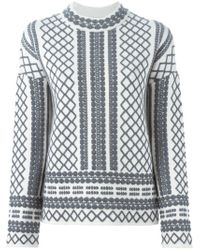 Tory Burch - Natural Aran Knit Sweater - Lyst