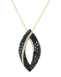 Effy | Metallic Caviar 14k Yellow Gold Black Diamond Pendant Necklace | Lyst