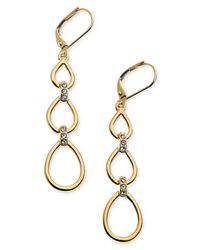 T Tahari - Metallic 14k Gold-plated Glass Crystal Drop Earrings - Lyst