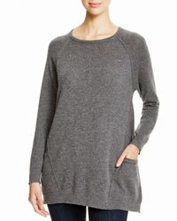 Aqua | Gray Cashmere Cashmere Tunic With Pockets | Lyst