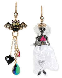 Betsey Johnson | Metallic Two-tone Pavé Bat And Skeleton Bride Mismatch Earrings | Lyst