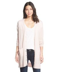 Halogen | Pink Side Zip Long V-neck Cardigan | Lyst