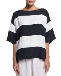 Eskandar - Blue 3/4-sleeve Wide-striped T-shirt - Lyst
