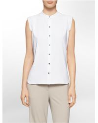 Calvin Klein - White Label Mandarin Collar Button Front Cap Sleeve Top - Lyst