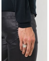 Henson - Metallic Thick Faceted Ring for Men - Lyst