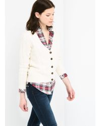 Mango - White Cableknit Cotton Cardigan for Men - Lyst