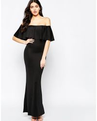 Twin Sister - Black Maxi Dress With Frill Top - Lyst