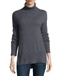 Neiman Marcus | Gray Cashmere Turtleneck With Side Slits | Lyst