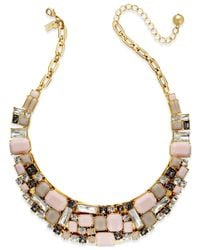 Kate Spade | Gold-tone Pink Stone Statement Collar Necklace | Lyst