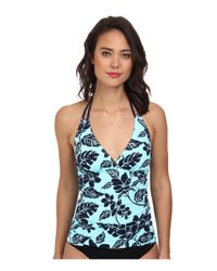 Tommy Bahama | Blue Floral-Print Halter Tankini Top & Ruch-Side Hipster Swim Bottom | Lyst